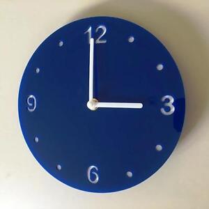 Rond-Bleu-amp-Blanc-Horloge-Renforce-Mains-amp-Balayage-Silencieux-Mouvement