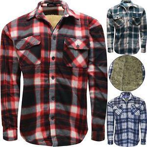 Mens Faux Fur Fleece Lined Lumberjack Padded Check Warm