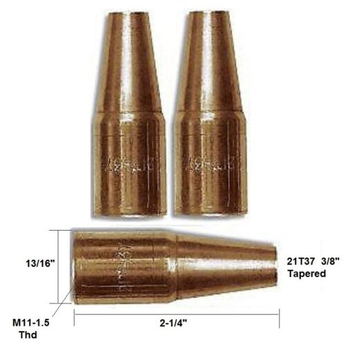 21T37 Mig Welding Nozzle Tapered for Tweco Mini #1 /& Lincoln Magnum 100 PK of 2