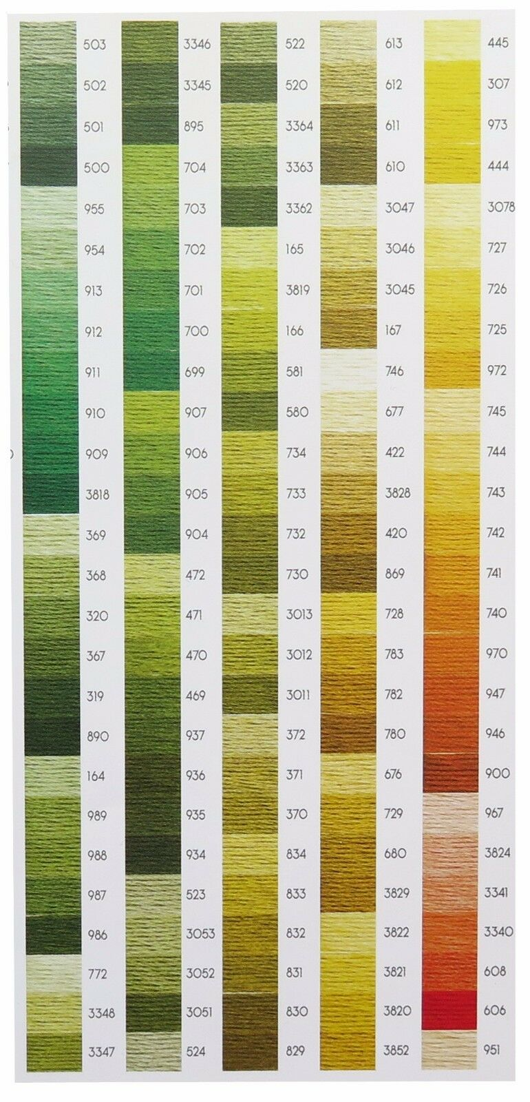 VAT DMC 1 Skein Stranded Cotton Cross Stitch Thread Numbers 420 ...