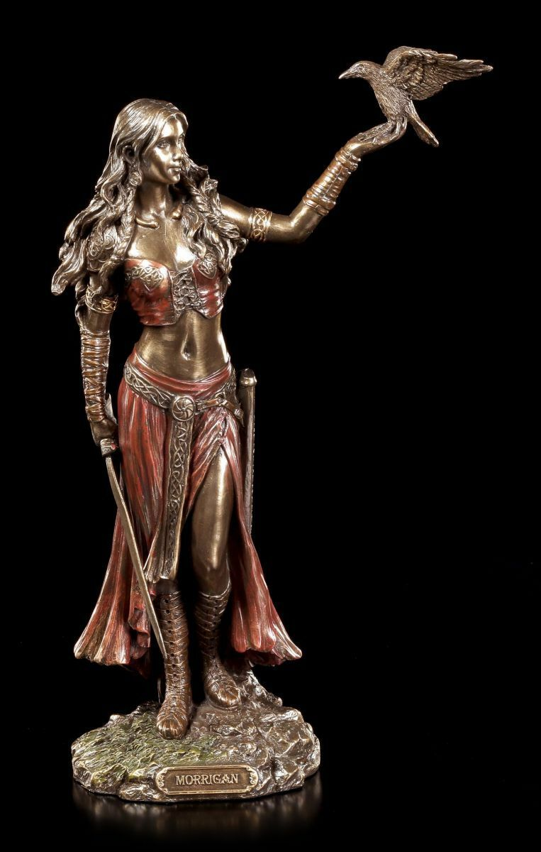 Celtic Goddess Morrigan with Raven Decorative Figure Veronese Bronze Look