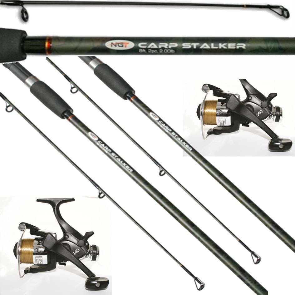 2 X NGT CARP FISHING STALKER CAMO RODS 2PC 8FT + 2 EG40 2BB FISHING NGT REELS