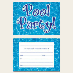 Image Is Loading Ready To Write Kids Birthday Invitations Swimming Pool