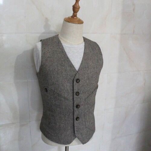 Men Linen Cotton Waistcoat Suit Vest Casual Formal Wedding Plain Solid Vintage