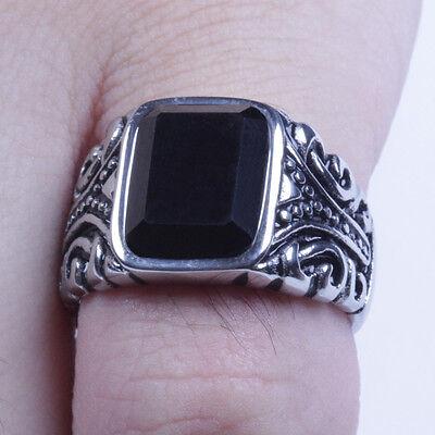 Men/'s Vintage Silver Stainless Steel Black CZ Ring Size 8-12 SR96