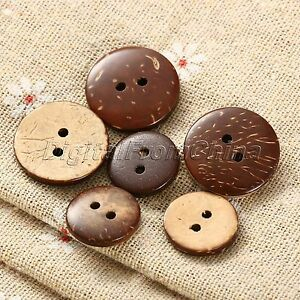 100pcs 2 holes coconut shell brown round sewing buttons. Black Bedroom Furniture Sets. Home Design Ideas