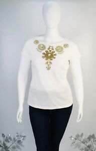 Womens-Size-XL-White-Gold-Embellished-Scoop-Neck-Short-Sleeve-Soft-Blouse-Top