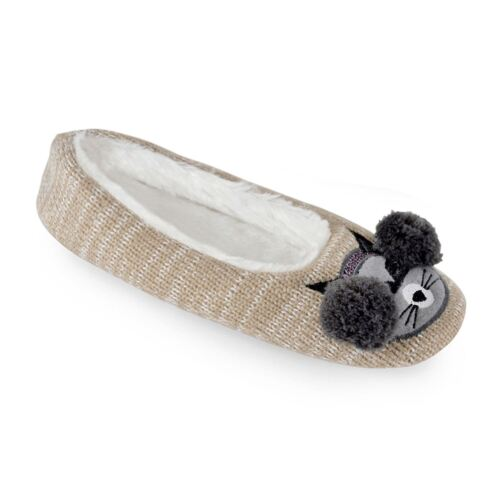 Women/'s//Ladies Footwear Knitted Racoon /& Owl Ballet Slippers Various Sizes