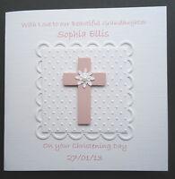 PERSONALISED HANDMADE GIRLS PINK CROSS CHRISTENING BAPTISM OR NAMING DAY CARD