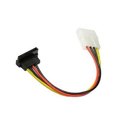 """24/"""" 4-Pin Molex Male to 4 SATA 15-Pin 90° Female Cable"""