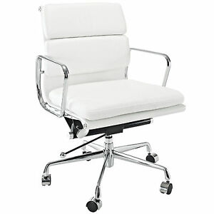 Sensational Details About Eames Office Chair Soft Padded Mid Low Back Reproduction Leather White Forskolin Free Trial Chair Design Images Forskolin Free Trialorg