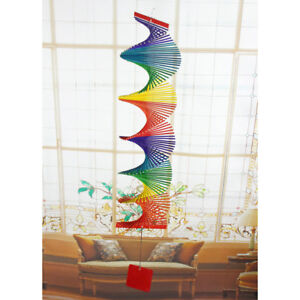 2X Colorful Hanging Spiral Wind Spinner Bamboo Mobile Wind Chime Windchime