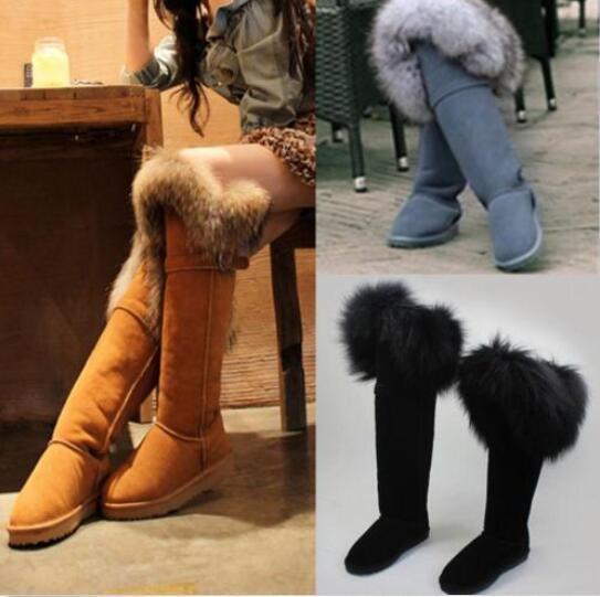 kvinnor Winter Tall Snow stövlar Fur Lining Real Fur Trim mocka Knee höga stövlar Sz