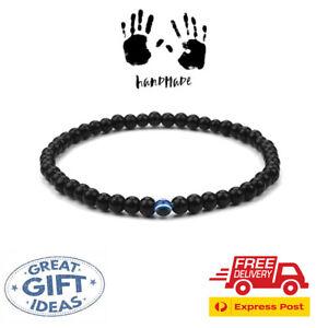 Turkish Greek Evil Eye Bracelet 6mm Elastic Cord Matt Black Bead