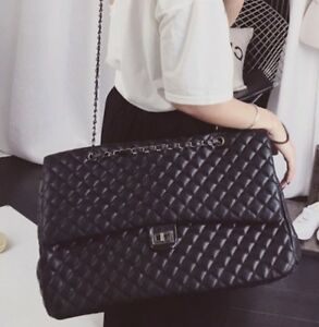 Image Is Loading Women Black Quilted Per Chain Faux Leather Extra