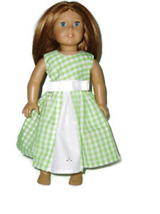 Green-Gingham-Easter-Spring-Dress-Fits-American-Girl-18-034-Doll-Clothes