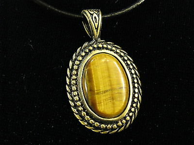 Tiger's Eye bronze pendant + FREE leather cord necklace vintage style jewelry