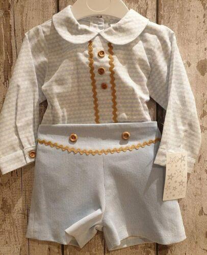 Gorgeous Spanish Style Baby Boy Blue and Gold Shorts and Shirt Set.