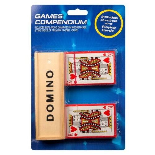 Madera auténtica Juego de dominó y jugando a las cartas juegos tradicionales 2 paquetes de las tarjetas