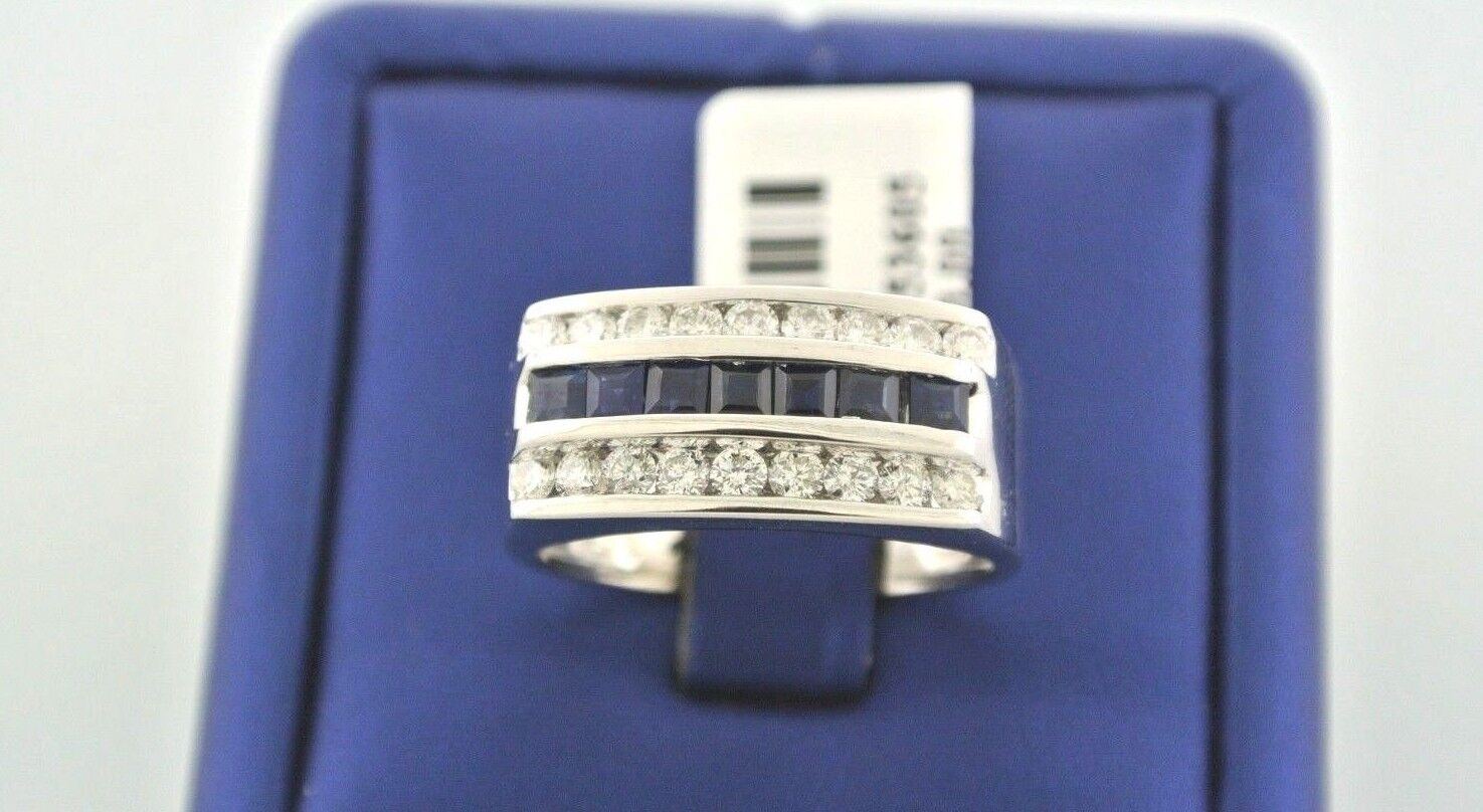 14k White gold 1.00 CT Sapphire & Diamond Men's Ring, 7.2gm, Size 9.5, S104250