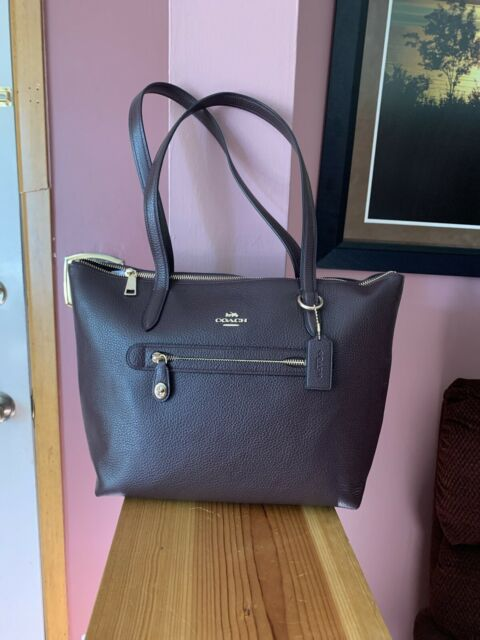 Coach Taylor Tote In Pebble Leather (Oxblood/Gold) Msrp $275.