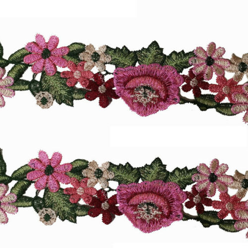 1Yard Flower Leaves Lace Trim Ribbon Applique Embroidered Sewing Craft   DIY Acc