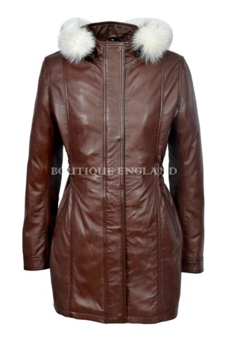 SYLVIA Ladies Brown Classic Mid Length Fur Collar 100 % Real Leather Jacket Coat