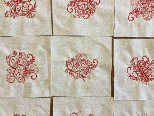 Christmas  Embiodery Squares Set Of 9 On Cream Tonal Fabric