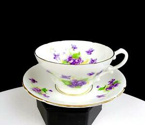 "STANLEY CHINA ENGLAND VIOLETS PURPLE FLOWERS GOLD TRIM 2 1/4"" CUP AND SAUCER"