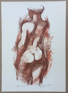 Lithograph by Georges oudot-nude female-test test 70x50 cm