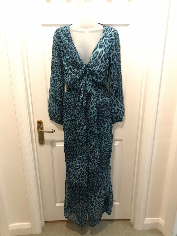 Bnwt Lipsy Imprimé Animal Blue Beach Cover Up Combinaison Uk 10