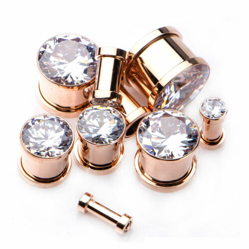 "PAIR-Super Gem Rose Gold Plate Screw On Ear Plugs 12mm//1//2/"" Gauge Body Jewelry"