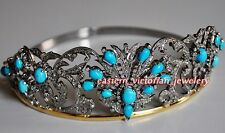 Antique Vintage 13.50Ct Rose Cut Diamond Turquoise Sterling Silver Jewelry Tiara