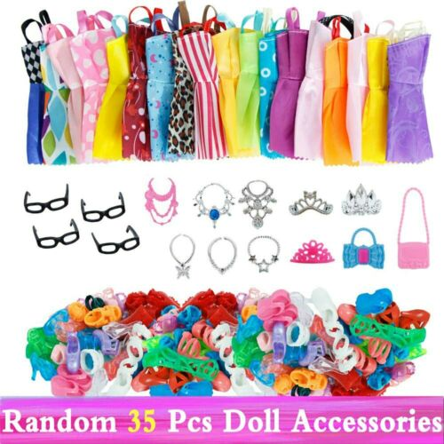 Random Lot Doll Clothes Gown Dress For Barbie Fashion Outfit Crown Bag shoes Set
