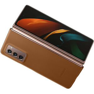 Original-Samsung-Leather-Cover-Case-Huelle-EF-VF916-Galaxy-Z-Fold2-5G-Braun