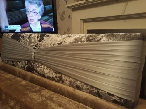 Luxury silver marble crushed velvet padded boxed pelmet. Satin sash 6ft 114