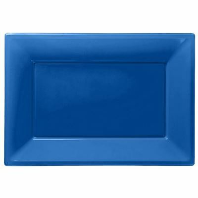3 Navy Blue Plastic Serving Platters Tray 33cm x 23cm Buffet Party Tableware