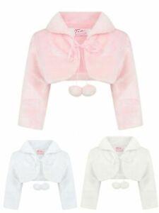 Girls Short Sleeve Kids Lace Bolero Shrug Diamond Button Wedding Cardigan 2-12 Y