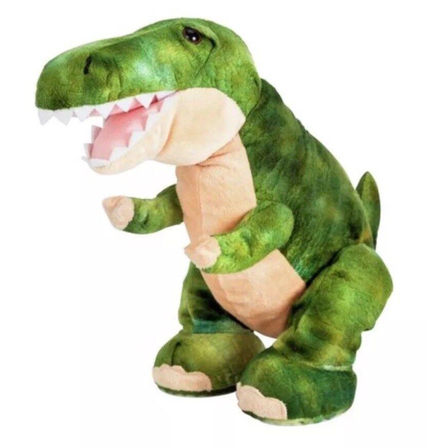 28cm Chad Valley Green Dinosaur TRex SOFT TOY INTERACTIVE Plush Kids Boys Gift S