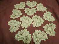 Dozen Of Ecru Crochet Small Heart Doilies 4 Cotton Wedding / Christmas Ornament