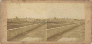 Panorama Da Florence Firenze Italia Jannelle Foto Stereo Vintage Albumina c1860
