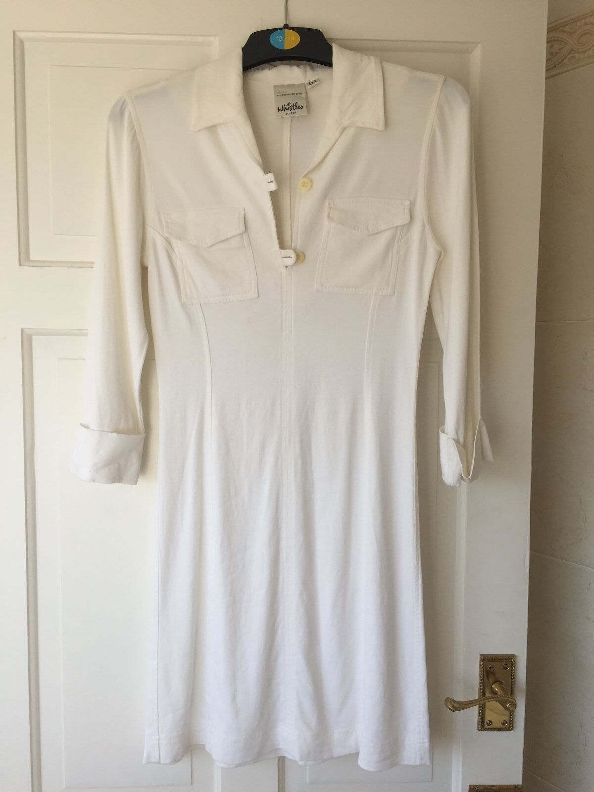Women's Whistles cream fitted Shirt Dress, Size 8