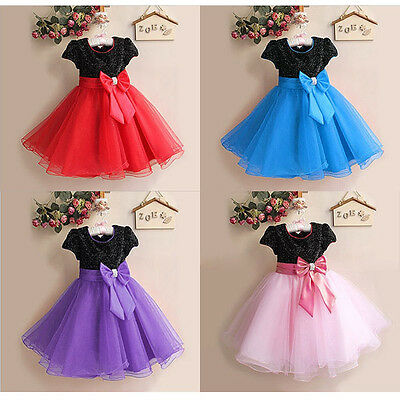 Christmas New Princess Baby Girl Flower Dress Sleeve Small Host Kids Gifts 2-7T
