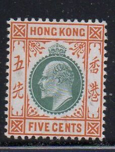 Hong-Kong-Sc-91-1904-5c-orange-amp-gray-Green-Edward-VII-stamp-mint-Free-Shipping