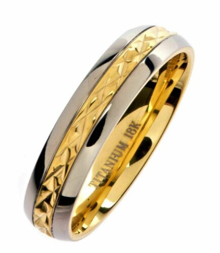 5mm 18K Gold Plated Wedding Band Grade 5 Titanium Band Comfort Fit Ring Size 14