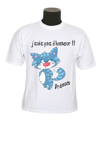 tee shirt enfant chat en colère humour personnalise prenom réf 185