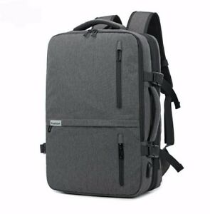 High-capacity-Men-039-s-USB-Charging-Laptop-Backpack-Travel-School-Bag-gray-black