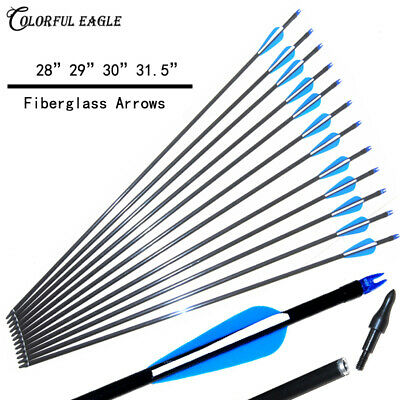 Archery Hunter Nocks Fletched Steel Arrows Fiberglass Hunting /& Target Practice