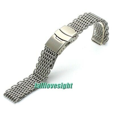 New 18 20 22 24 mm Silver Steel Shark Bracelet Watch Mesh Band Replacement Strap