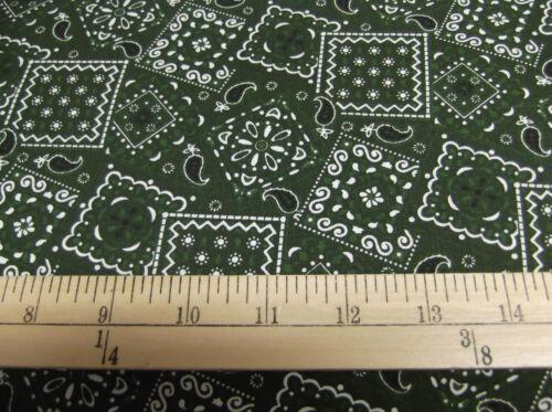 """1 yard of /""""Hunter Green Bandana/"""" Fabric"""